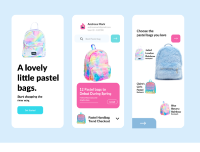 Pastel -Bags Mobile Apps animation vector color branding app ui ux handbags bags mobile app mobile ui design