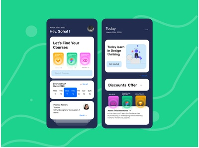 Online Courses App 2020 education learning offer sketch adobe xd figma design courses app