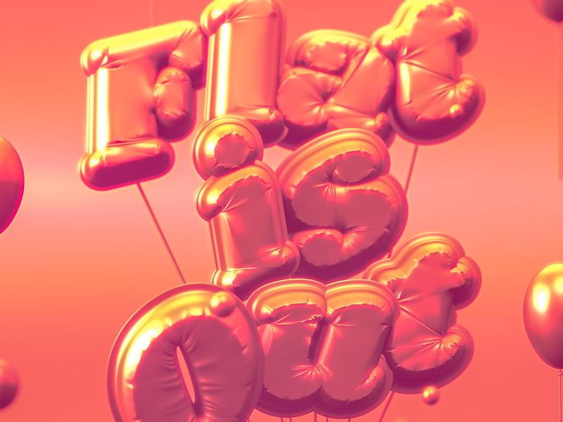 Baloons typography baloons logo illustration 3d art