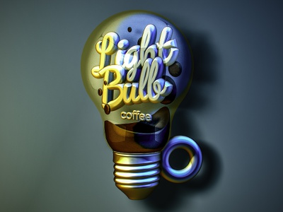 Ligth Bulb Coffee cup coffee idea lightbulb cozy design vectary logo 3d art typography ilustrations