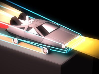 Forward To The Past delorean cartoon toy isometric icon movie time machine car