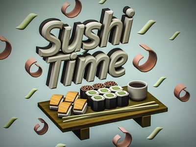 Sushi Time logo design vectary typography isometric cartoon illustration 3d art