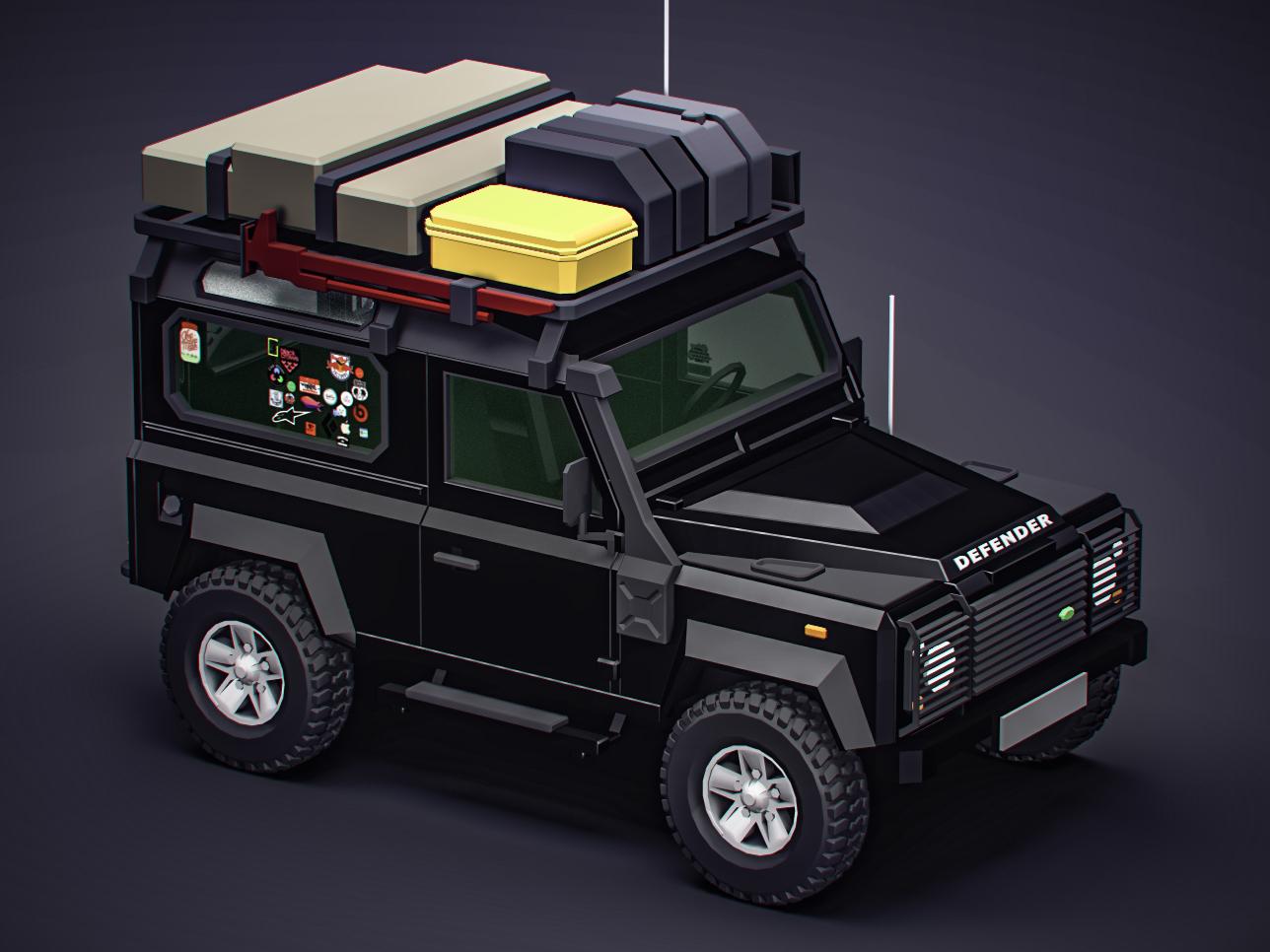 My defender 3d art vectary illustration isometric render cgi 3d camper offroad car d90 defender land rover