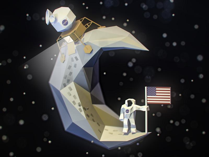 Moon Walk... lowpoly illustration isometric 3d art vectary