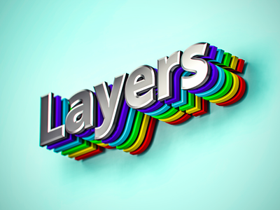 Layers layers chromatic metal shadows colors render cg typography 3d
