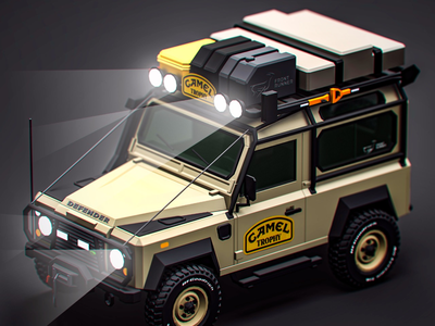 Camel Trophy the slowest car race of the planet... graphicdesign render expedition isometric cartoon trophy camel camping defender model cg offroad car lowpoly