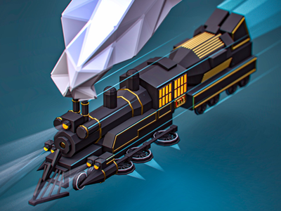 Emmett Brown Time Express graphicdesign ilustraton cartoon isometric timetravel train lowpoly