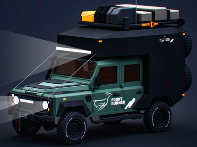 Family Holiday lowpoly model 3d cg graphicdesign camper landrover d90 defender