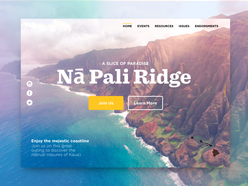 Nā Pali Ridge Event Page typography event page hiking hike mountian identity photo ux ui desktop website tropical summer landing page design landing page header event colors