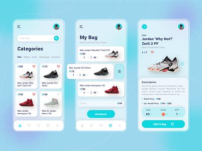 Shoes Retail Mobile App shopping shoes shoes store shoes app shoes vector onboarding ux branding ui mobile app gradient design app