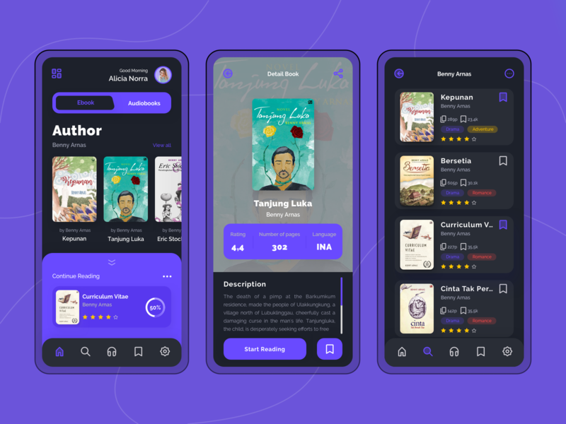 Ebook & Audiobooks Store App audiobook icon iconhub darkmode uiux store vector ux ui onboarding mobile app design app audiobooks ebook