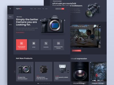 DigitalEye - Cameras Landing Page landing page webdesign website homepage landingpage clean design dark sony camera branding clean colorful ui