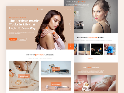 PANJEL - Jewelry Shop Landing Page jewellery iconhub uiplus oww cleandesign homepage webdesign uiux uidesign bracelete accesories necklace rings jewelry design landingpage jewelry branding ui