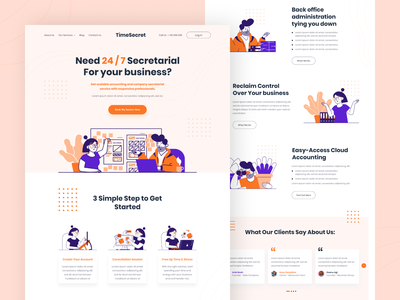 TimeSecret - Secretarial Landing Page one week wonders oww whoooa landingpage orange character clean illustration webdesign uiux homepage colorful ui onboarding design app