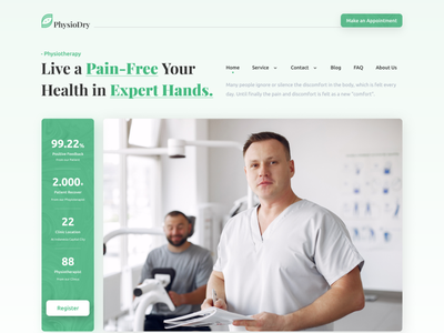PhysioDry Therapy Care Landing Page landing doctor medical medicine clinic website web oww clean design web design landingpage healthcare health green therapy physiotherapist physiotherapy uiux homepage ui