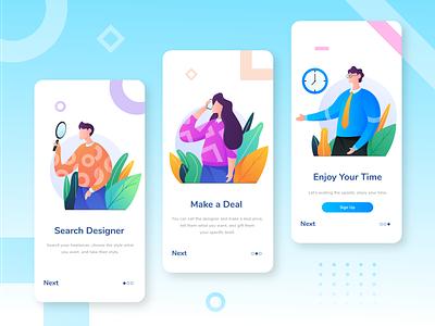 Help Freelancers Find Work Onboarding App gradients flat mobile app device uiuxdesigner leaf uiux onboarding colorful gradient people character app web design illustration
