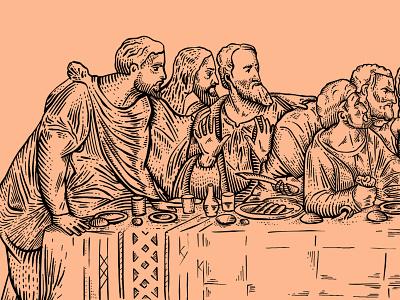 The Last Supper judas betrayal jesus apostles mural painting lastsupper illustration art illustrator handrawn procreate ipadpro illustration practice drawing leonardo da vinci