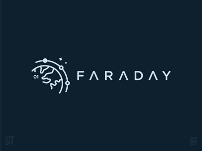 Faraday Mission line-art planet earth space satellite orbit mission faraday