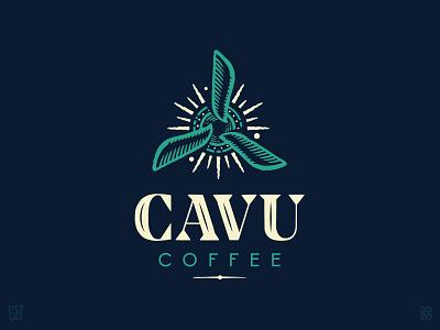 Cavu Coffee airplane brand drawing sun hand-drawn propeller coffee