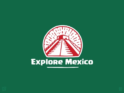 Explore Mexico illustration hand-drawn sacred ancient tourism landmark travel pyramid temple mayan