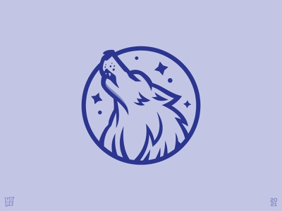 Howling Wolf (Sold) blue mascot stars night howling badge wolf