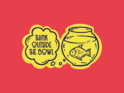 Think Outside The Bowl illustration think fish bowl sticker