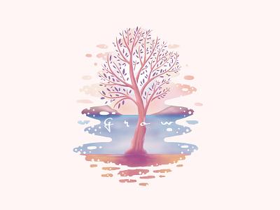 Grow (Tree) calm t-shirt illustration pastels lake nature grow tree