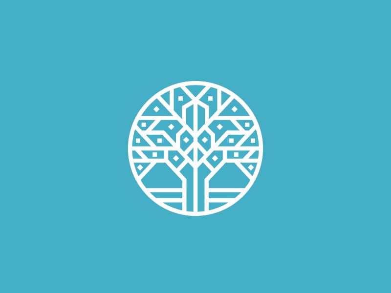 Tree Mosaic tech digital timber wood line-art minimal life mosaic tree