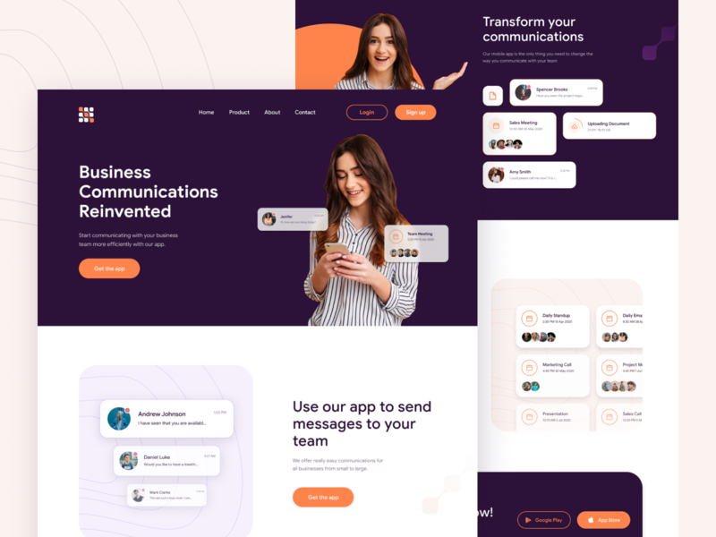App Landing Page Exploration lokman redesign design website recent shot new shot one pager google sans wireframe prototype app landing landingpage userinterface figma adobe xd hello dribbble debut ui design trend