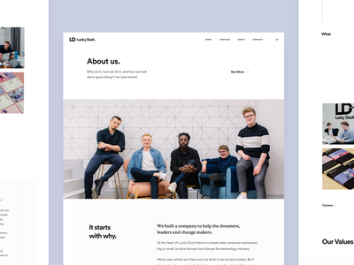 Lucky Duck About Us page about us graphic agency agency website branding user experience dailyui ux experience web uiux design ui