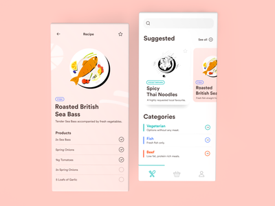 Daily UI Recipe Book illustration cooking app recipe user experience ux ui interface app mobile dailyui