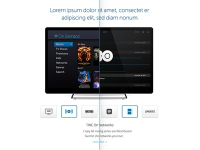 TV Services Module dvr streaming cable on demand tv television technology digital ui ux design branding