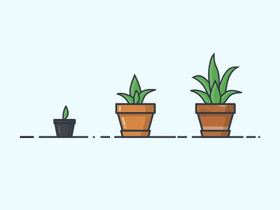 DAY 17: EVOLUTION OF SPIKE seedling office desk plant growth pot sprout plant day 17 illustration 100daysofillustration 100days