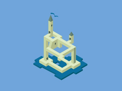 DAY 28: Isometricity perspective castle monument valley isometric building day 28 illustration 100daysofillustration 100days