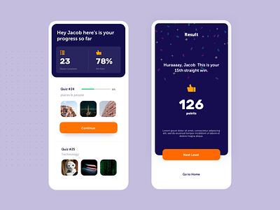 Quiz App User Interface Exploration typography product design dashboard app design ios mobile design user interface quizz quizzes orange blue quiz app