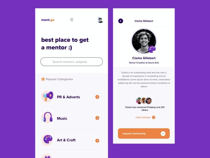 Mentorship Platform for Creatives search ux design art pop agency orange blue vector illustration product design design app ios linkedin 3d creative mentee mentorship mentor