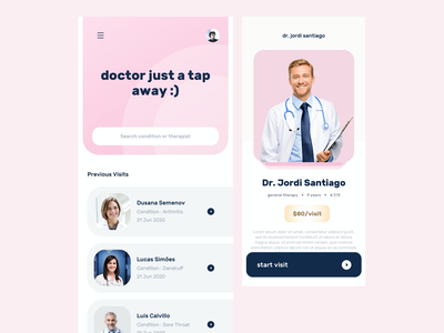 Online Doctor & Therapist Consultation App Concept ui ios app doctor appointment hospital healthcare clinic listing diagnosis treatment therapy doctor ios pharmacy medicine telehealth webmd telemedicine medical mobile design