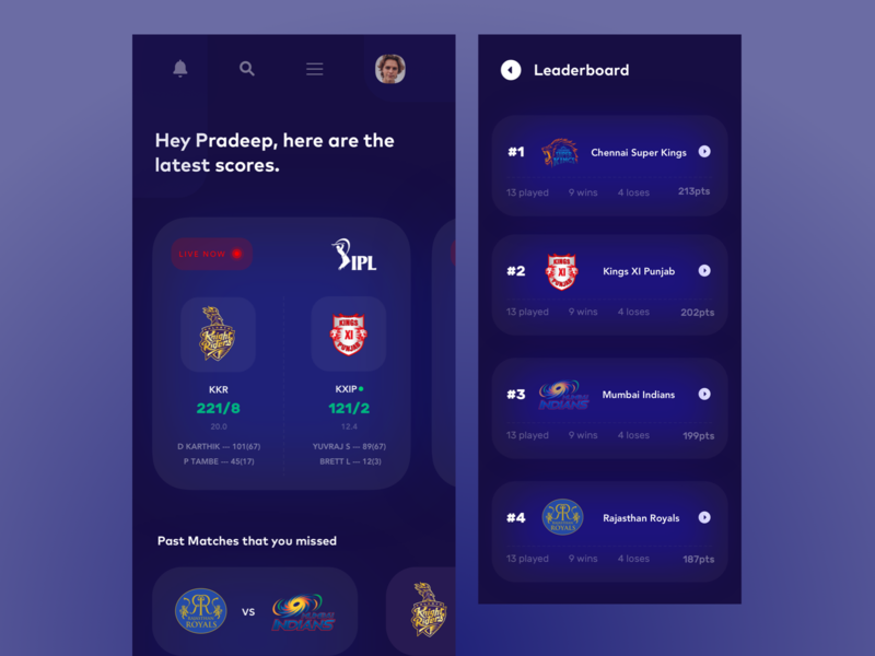 IPL Mobile Live Scoreboard : Sports Mobile Screens live league cricket app leaderboard scorecard scores games tournaments ipl cricket mobile blue typography agency ecommerce product design ios design app