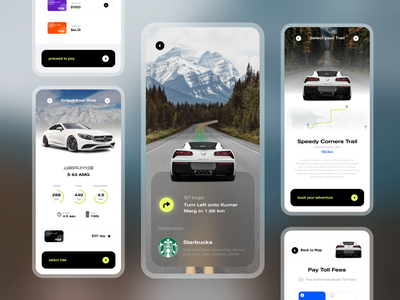 Shot #3 from the Offroad Adventure Series creditcard cards ui payment speed maps map augmented reality car highways traveller booking travel adventure sports cars highway ios design