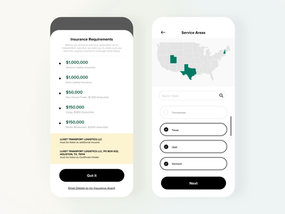 Trucking App Driver Concept 1 - Insurance & Map job application on demand ecommerce app cargo truck terms and conditions signup insurance typography mobile agency product design design ios app maps