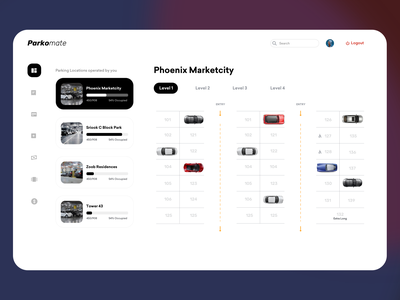 Parking Management Dashboard Concept - Light Mode dashboard mobile typography booking agency product design clean resume clean ui clean monocherome ios design