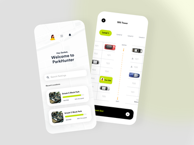 ParkHunter : Parking Management Dashboard Concept. payment blue typography mobile booking agency ecommerce ui product design parking app slot booking car parking