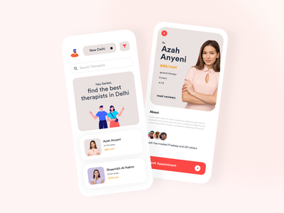 Therapist and Mental Health Appointment Booking App design typography mobile agency product design mentalhealth booking system ecommerce booking