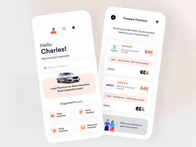 Insurance Comparison Application colorful booking agency ecommerce ui product design ios app design concept plans comparison insurance company insurance app