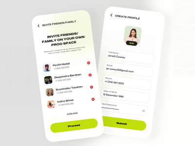 Profile Creation and Refer Friends messaging socialmedia profile invite dashboard typography mobile booking agency ecommerce ui product design app design