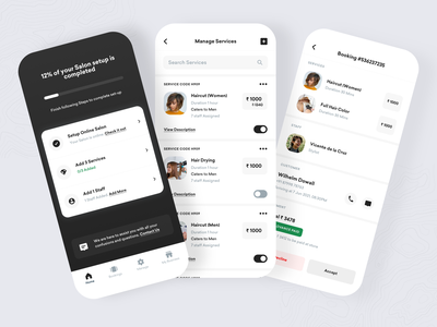 Salon Management Application Onboarding and Appointments - Part2 ui agency ecommerce ios design product design onboarding projects people team manage online booking services barber spa appointments graphic design salon