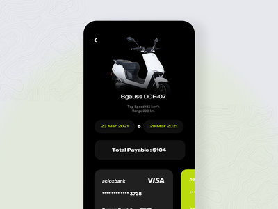 Scooter Booking and Rentals with checkout and payment cards aether ola app product design design ui selector select dates rentals ecommerce trending top share like colors e scooter scooter
