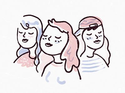Girls international womens day art design outline graphic drawing illustration