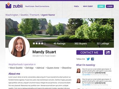 Real Estate Website Agent Profile web website webdesign map user profile purple real estate housing location agents rating neighborhood video