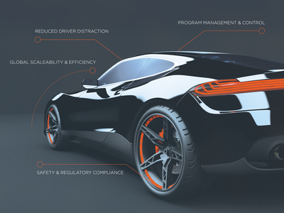 Ad design for a connected car company connected car callouts technical vehicle concept car orange ad design